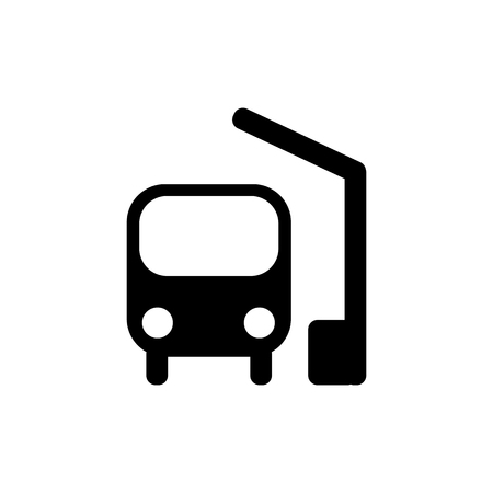 Bus station icon in black. Simple black bus symbol in flat style isolated on white background. Simple bus vector abstract icon for web site design or button to mobile app. Vector illustration.
