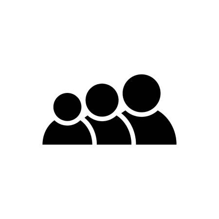 People icon. Group of humans sign in black. Simple people symbol in flat style isolated on white background. Family vector abstract icon for web site design or button to mobile app Vector illustration Illustration