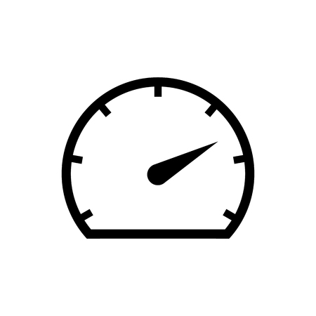 Speedometer icon in black. Black speedometer symbol in flat style isolated on white background. Simple speedometer vector abstract icon for web site design or button to mobile app. Vector illustration Illustration