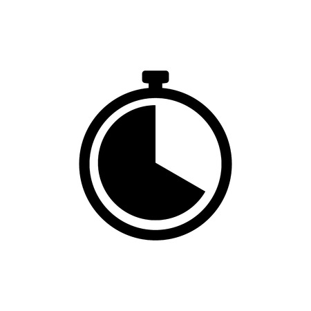 Clock icon. Timer sign Isolated on white background. Stopwatch symbol in flat style. Simple abstract clock vector icon in black. Vector illustration for graphic design, logo, Web, UI, mobile upp  イラスト・ベクター素材