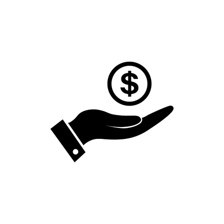 Money in hand icon. Simple black hand with money icon symbol in flat style isolated on white background. Dollar in hand vector abstract icon for web site design or button to mobile app.