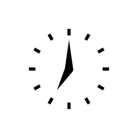 Clock icon with points in flat style. Black and white clock arrows. Time symbol isolated on white background. Vector abstract watch icon for web site design or button to mobile app.