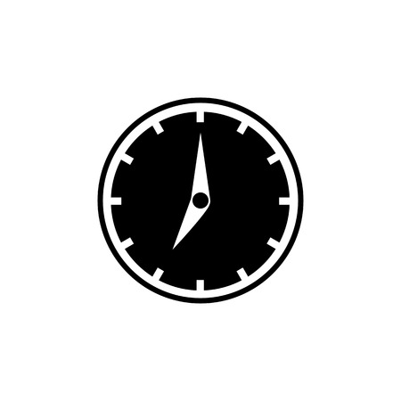 Clock icon in flat style. Black filled icon with white clock arrows. Time symbol isolated on white background. Vector abstract watch icon for web site design or button to mobile app.