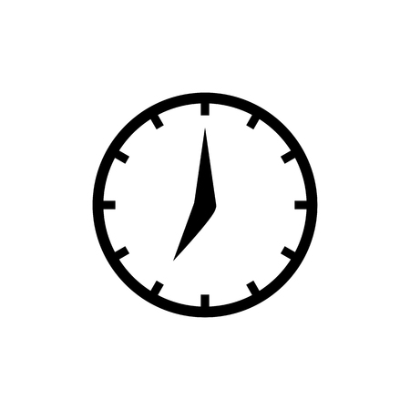 Clock icon in flat style. Black and white clock arrows sign. Simple time symbol isolated on white background. Vector abstract watch icon for web site design or button to mobile app.