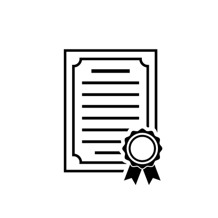 Vector certificate icon. Black achievement symbol in flat style isolated on white background. Award, grant or diploma symbol. Simple vector abstract icon for web site design or button to mobile app.  イラスト・ベクター素材