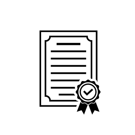 Vector certificate icon with rosette and check. Black achievement symbol in flat style isolated on white background. Award, grant or diploma symbol. Simple icon for web site design or button to app.