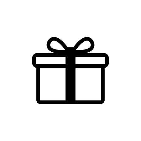 Gift icon in black. Gift box symbol with bow, ribbon. Sale, shopping concept. Gift boxes, presents isolated on white. Present icon in flat style. Vector illustration