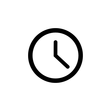 Clock line icon in flat style. Clock symbol. Simple time symbol isolated on white background. Vector clock abstract icon for web site design or button to mobile app.