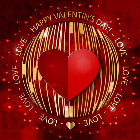 Valentins Day greeting card in red and gold. Rich decorated card with paper red heart, gold text and sunlights. Vector illustration.