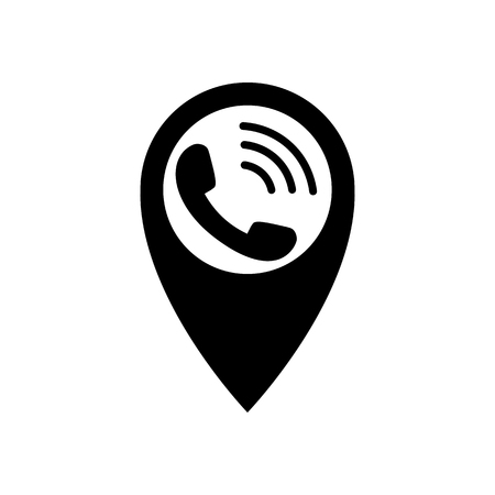 Pointer with phone icon. Pin sign with ringing phone Isolated on white background Navigation map symbol in flat style Simple abstract location icon in black Vector illustration for graphic design, web  イラスト・ベクター素材