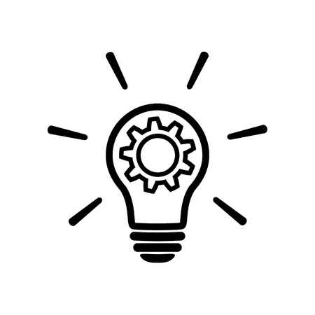 innovation line icon in flat style. Light bulb with cog mechanism line sign. Light bulb with gear icon Simple process sign, Idea symbol. Implementation icon Vector illustration for graphic design, Web