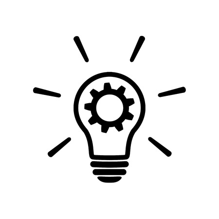 innovation icon in flat style. Light bulb with cog mechanism line sign - Light bulb with gear icon. Simple process sign, Idea symbol. Implementation icon. Vector illustration for graphic design, Web