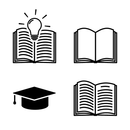 Learning icon set in flat style. Education symbols with open book isolated on white background Simple study icon in black Vector illustration for graphic design, Web, UI, mobile upp