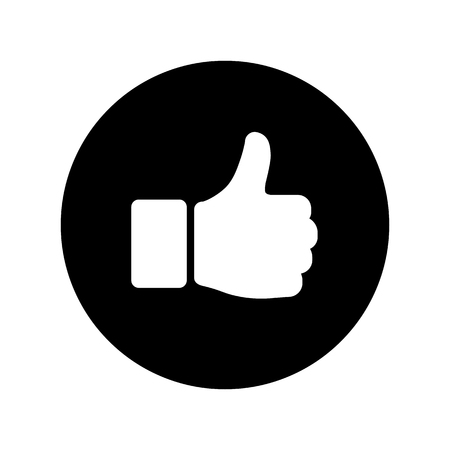 Hand thumb up icon in circle in flat style. Yes symbol Isolated on white background. Abstract success icon in white on black circle. Vector illustration for graphic design, logo, Web, UI, mobile upp