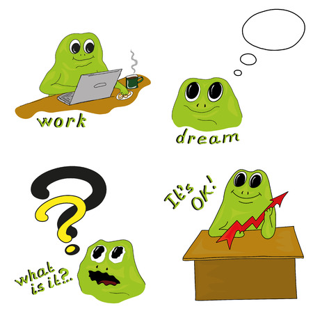 Working process. Vector illustration of work with green frog on white background. Cartoon template design for banner, poster, cover. Vector set with Mr. Frog in business