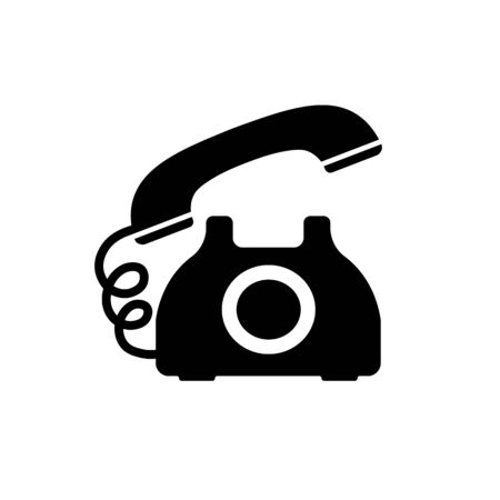 Retro phone icon in black in flat style