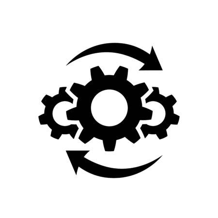 Icono de proceso en estilo plano en blanco