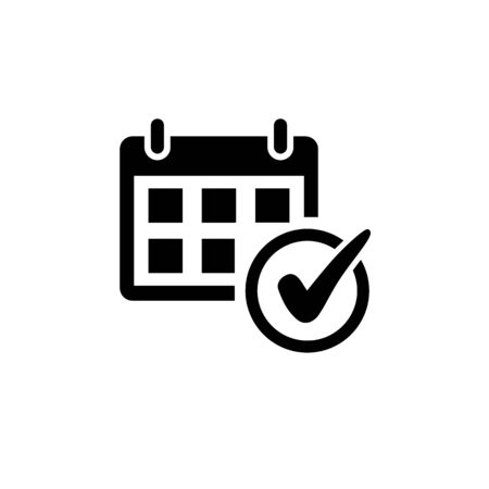 Event schedule Icon in flat style. Calendar Icon with checkmark isolated on white background. Date and check symbol in black for your web site design, logo, app, UI. Vector illustration Illustration