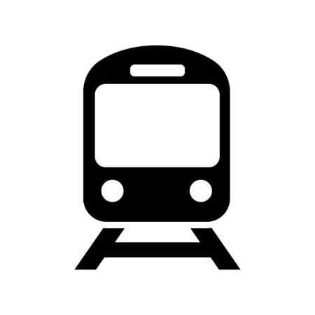 Train icon in flat style on white  イラスト・ベクター素材