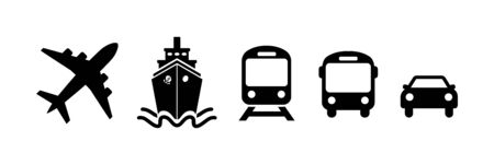 Transport icons in flat style on white