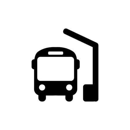 Bus station icon in black, bus symbol