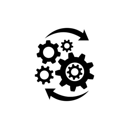 Operations icon in flat style isolated on white. Effective process symbol in black for your web site design, app, UI. Abstract startup icon. Vector illustration.