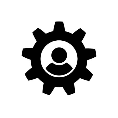 Man and cog icon in flat style