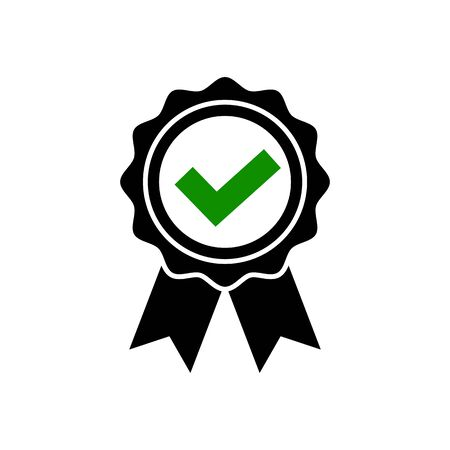 Approved icon in flat style Award rosette symbol