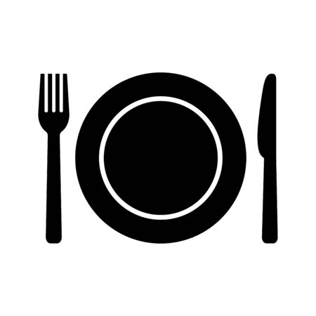 Food icon in flat style. Spoon and fork symbol  イラスト・ベクター素材