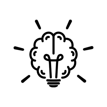 Brain light bulb icon in flat style