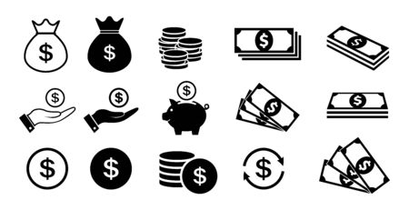 Money icon set. Coins and dollars symbols.
