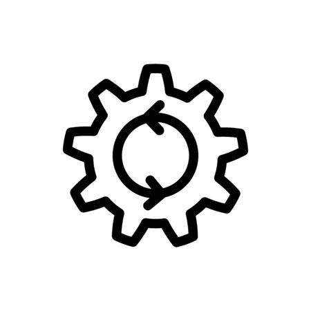 Process icon. Cogwheel with arrows process symbol