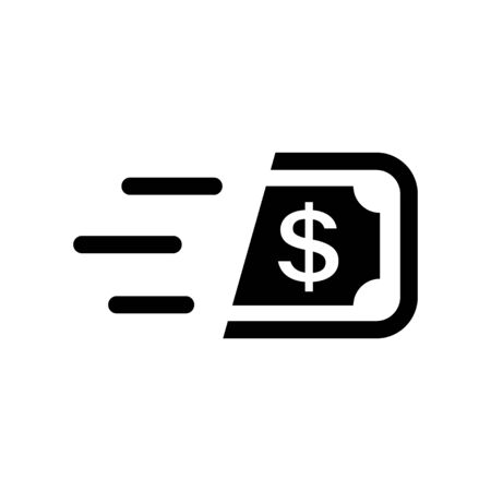 Fast cash icon in flat style. Transfer symbol.