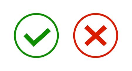Green tick and red cross checkmarks line icons