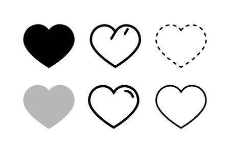 Heart and love icon in flat style. Love symbol.