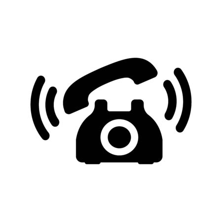 Retro phone icon in black with waves