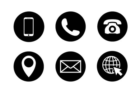 Contact icon set. Phone, location, mail, web site. Illustration