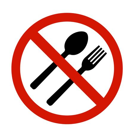 No eating icon in flat style. No food symbol.  イラスト・ベクター素材