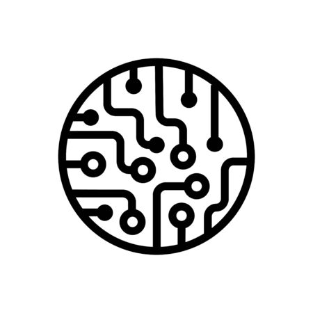 Circuit board icon in flat style Black chip symbol Ilustrace