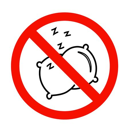 No sleep icon in flat style. No pillow symbol isolated on white background. Simple abstract no sleep sign in black. Vector illustration for graphic design, logo, Web, UI, mobile app.