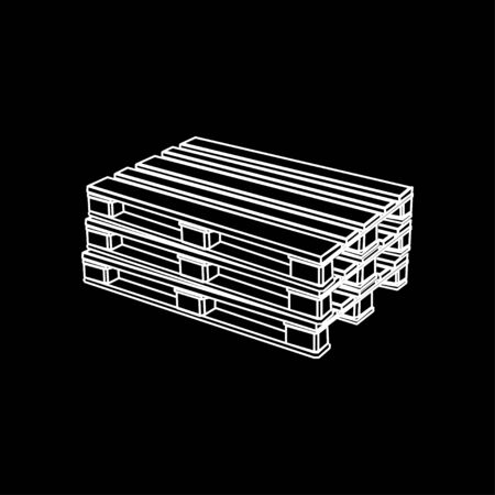 Pallet line icon in flat style on black background Illustration