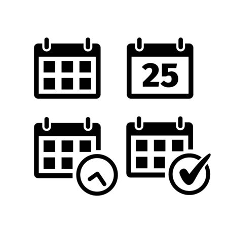 Calendar icon set in flat style on white.