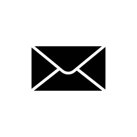Black envelope icon in flat style. Mail symbol