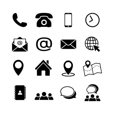 Contact us icon set in flat style