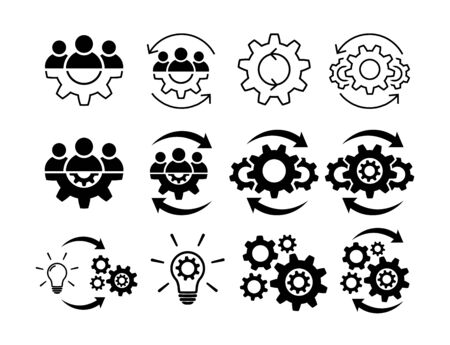 Teamwork process icon set. Team and gear symbols isolated on white. Leadership and creative signs in flat Line and fill icons Group of people symbol Teamwork abstract icon in black Vector illustration Illustration