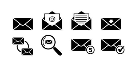 Email icon set in black. Mail delivery symbols. Letter in envelope. Set of email signs in flat. Sending message icon collection isolated on white. Vector illustration for graphic design, Web, UI, app.