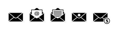 Email icon set in black on white background Illustration