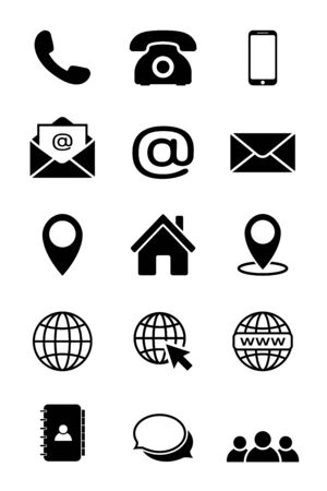 Contact us icon set in black. Phone, smartphone, clock, email, globe, location, house, map, address, chat symbols isolated on white background. Simple abstract icons in flat style. Vector illustration Illustration
