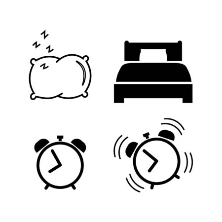Sleep and wake up icon set in flat style. Alarm clock, pillow, bed, ringing alarm clock. Wake up or get up concept. Time sign isolated on white. Vector illustration for graphic design, Web, UI, app. Illustration