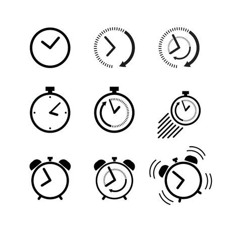 Clock icon set. Alarm clock, ringing alarm clock, clock deadline. Wake up or get up concept. Time sign isolated on white background in flat style. Vector illustration for graphic design, Web, UI, app.